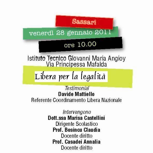 Sassari – Libera incontra gli studenti dell'ITI G.M. Angioy