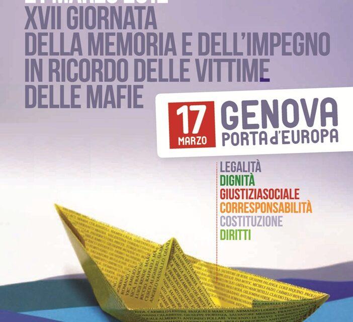 Genova, 17 marzo – XVII Giornata della memoria e dell'impegno in ricordo delle vittime delle mafie