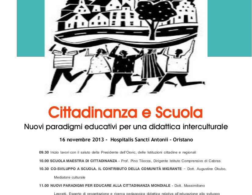 Oristano – Cittadinanza e Scuola. Nuovi paradigmi educativi per una didattica interculturale