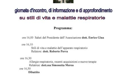 Cagliari – Giornata di informazione su stili di vita e malattie respiratorie