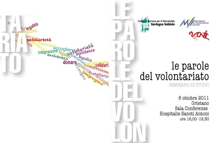 "Oristano – Seminario regionale ""Le parole del volontariato"""