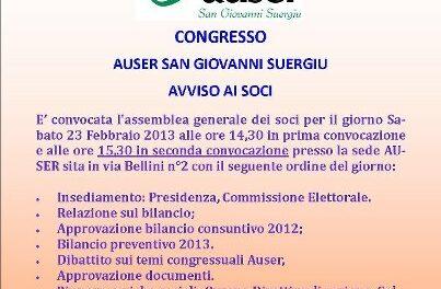 San Giovanni Suergiu – Assemblea Auser comunale