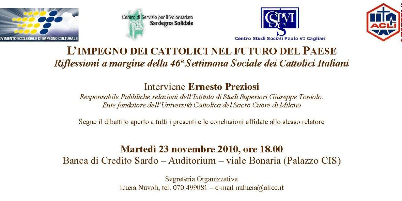 Cagliari – L'impegno dei cattolici nel futuro del Paese