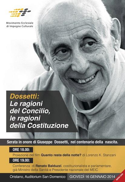 Oristano – Dossetti: le ragioni del Concilio, le ragioni della Costituzione