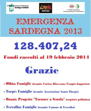 128.407,24 euro raccolti finora per l'Emergenza Sardegna 2013