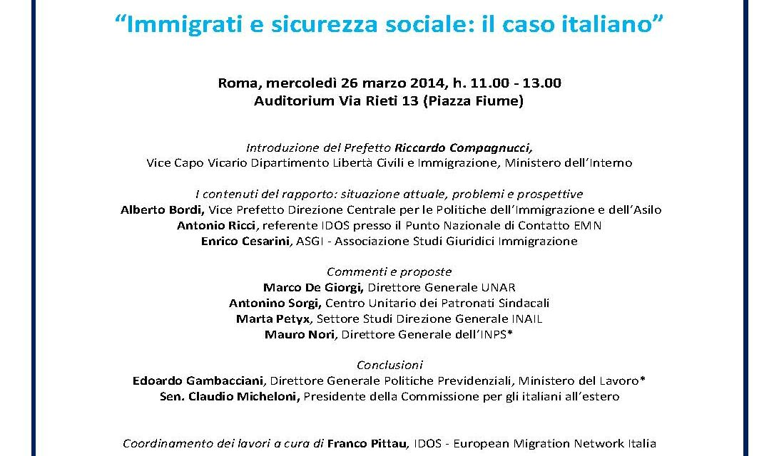 Roma – Immigrati e sicurezza sociale: il caso italiano