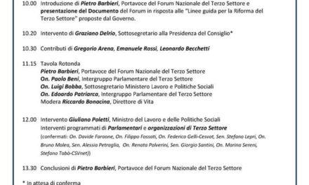 Roma – #Lavoltabuona. La riforma del Terzo Settore: partecipare per cambiare