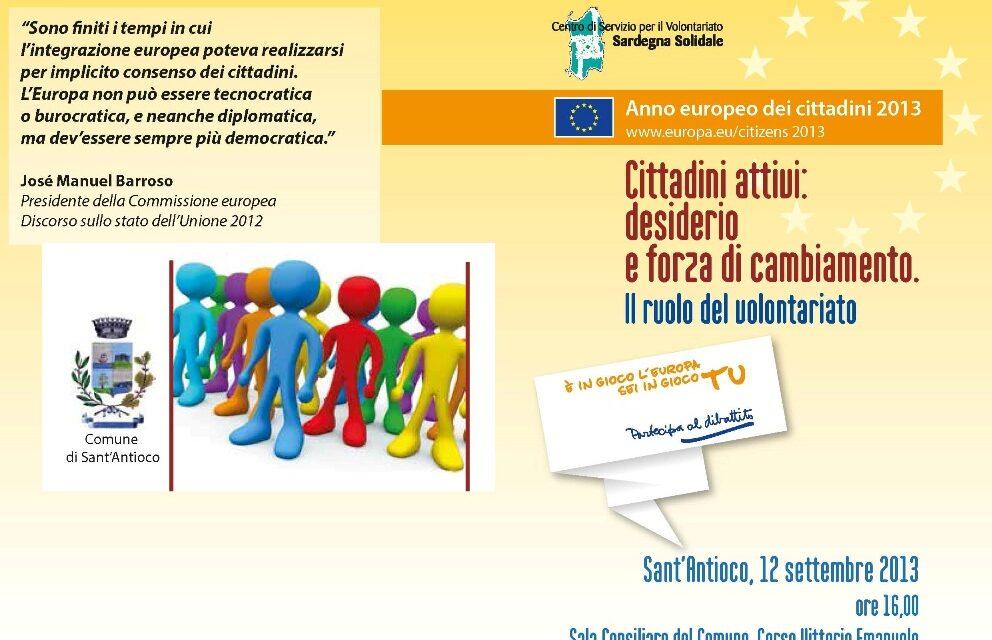 S. Antioco – Cittadini attivi: desiderio e forza di cambiamento. Il ruolo del volontariato