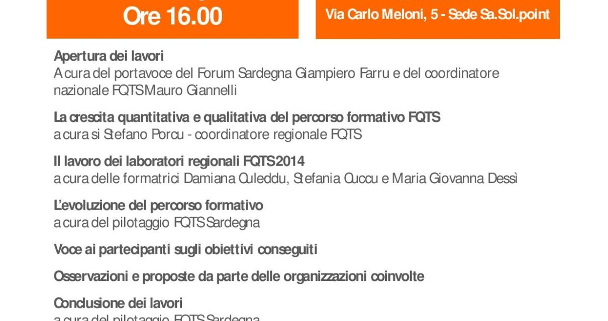 Oristano – Assemblea della Rete FQTS Sardegna