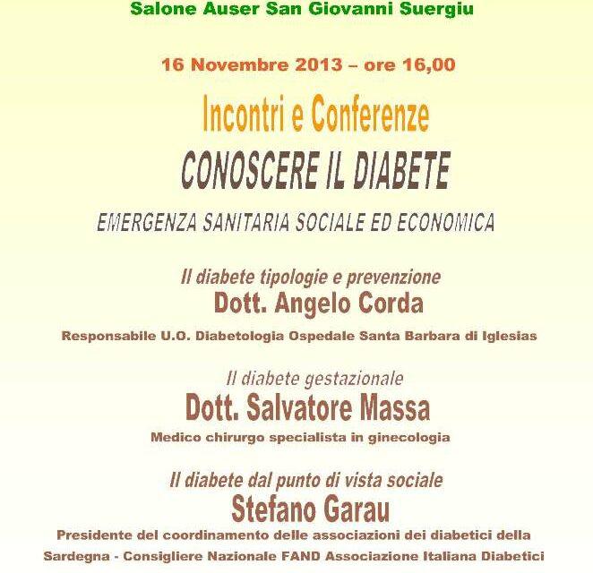 San Giovanni Suergiu – CONOSCERE IL DIABETE- emergenza sanitaria sociale ed economica