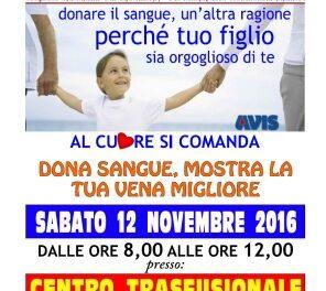 Raccolta Sangue Sabato 12 novembre 2016