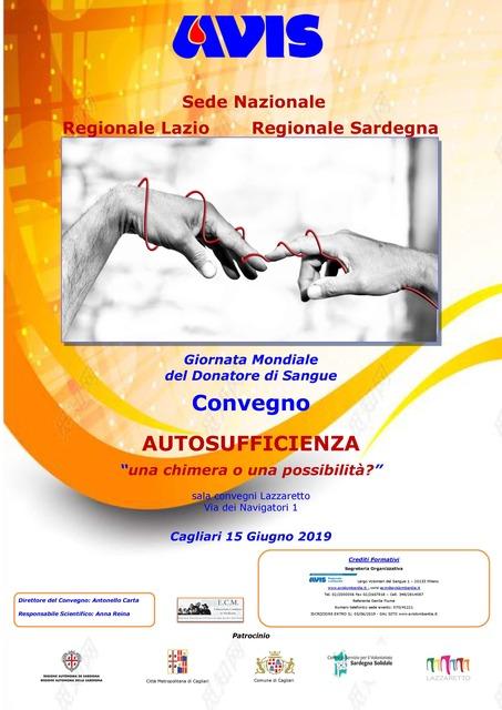 """Cagliari – Giornata Mondiale del Donatore di Sangue. Convegno """"AUTOSUFFICIENZA: una chimera o una possibilità?"""""""