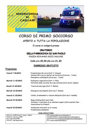 Cagliari – Corso di primo soccorso (aperto a tutta la popolazione)