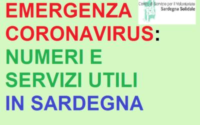 Coronavirus: Numeri e Servizi utili in Sardegna (aggiornamento al 08 aprile 2020 H 13)
