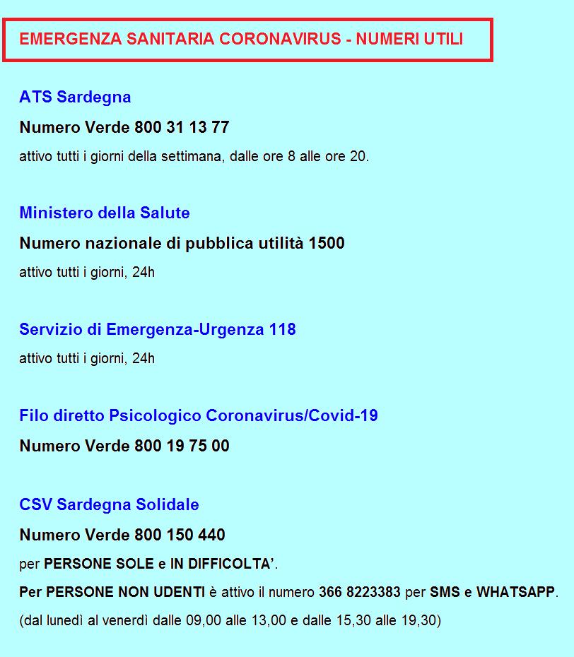 Coronavirus Numeri E Servizi Utili In Sardegna Aggiornamento Al 25 Aprile 2020 H 18 Sardegna Solidale